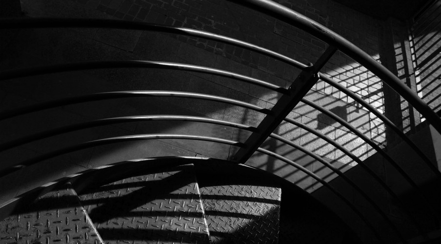 shadowy stair case